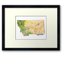 Montana Painted Map Framed Print