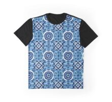 Blue and White Talavera Tile Inspired Pattern Graphic T-Shirt