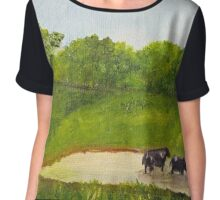 Cows in a Pond Chiffon Top