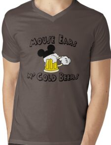Mouse Ears and Cold Beers Mens V-Neck T-Shirt