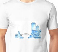 Blue Watercolor Milwaukee Skyline Unisex T-Shirt
