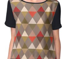 Harlequin Pattern, Taupe and Red Chiffon Top