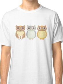 Fluffy Dog and Owl Cousins Classic T-Shirt
