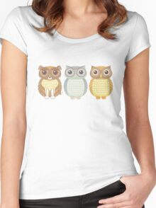 Fluffy Dog and Owl Cousins Women's Fitted Scoop T-Shirt