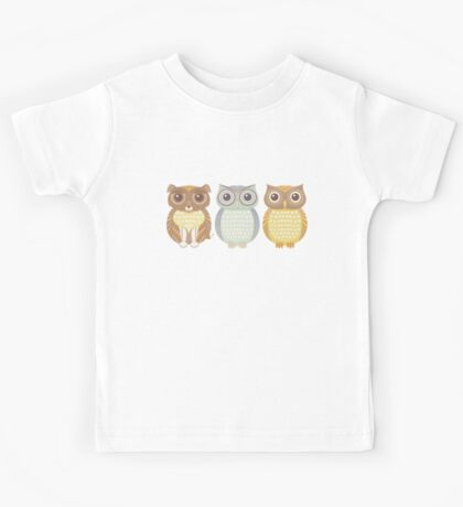 Fluffy Dog and Owl Cousins Kids Tee