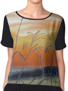 Tall Grass at Sunset Chiffon Top