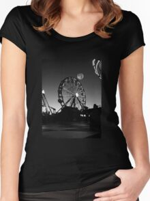 Ferris Wheel With Full Moon Women's Fitted Scoop T-Shirt