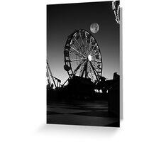 Ferris Wheel With Full Moon Greeting Card