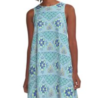 Blue Moroccan  A-Line Dress
