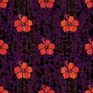 Hibiscus and Purple Polka Dots by Dana Roper