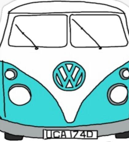 Retro Blue VW Van Sticker