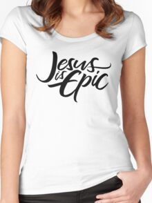 Jesus is Epic Brush Lettering - Calligraphy - Christian - Religious - Black on White Women's Fitted Scoop T-Shirt