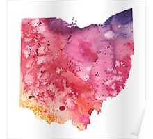 Watercolor Map of Ohio, USA in Orange, Red and Purple - Giclee Print of my Own Painting Poster