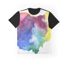 Watercolor Map of Ohio, USA in Rainbow Colors - Giclee Print of My Own Watercolor Painting Graphic T-Shirt