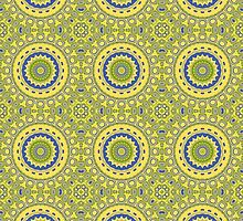 Blue, Green & Yellow Kaleidoscope Flowers by Mercury McCutcheon