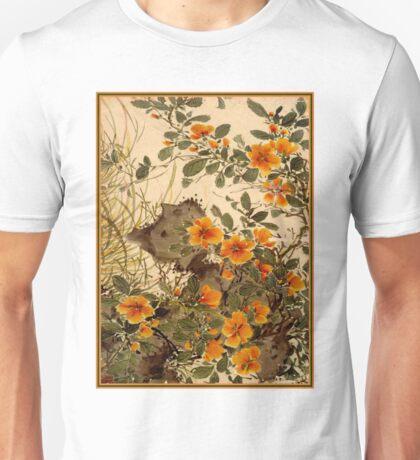 CHINA MING DYNASTY; Vintage Flower Decorative Print Unisex T-Shirt