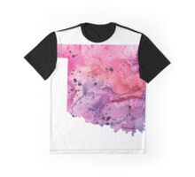 Watercolor Map of Oklahoma, USA in Pink and Purple - Giclee Print of My Own Watercolor Painting Graphic T-Shirt