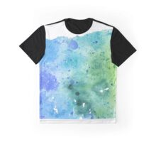 Watercolor Map of Oregon, USA in Blue and Green - Giclee Print of My Own Watercolor Painting Graphic T-Shirt
