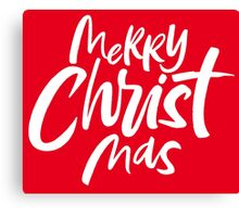 Modern Christian Christmas Lettering - Bold Merry Christ Mas - Religious - Classic Red Canvas Print