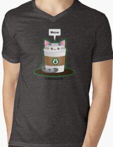 Cute Cat Coffee Mens V-Neck T-Shirt