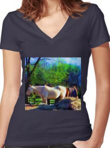 By My Side Women's Fitted V-Neck T-Shirt
