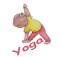 Flexible Yoga Bear in triangle pose Photographic Print