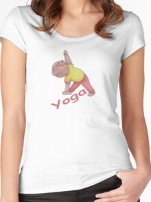 Flexible Yoga Bear in triangle pose Women's Fitted Scoop T-Shirt