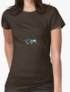World Map Blue Crystal Womens Fitted T-Shirt