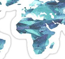 World Map Blue Crystal Sticker