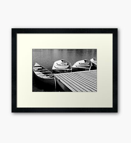 Quiet Boat Dock, Black & White Framed Print