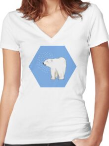 Polar Bear #8 Women's Fitted V-Neck T-Shirt