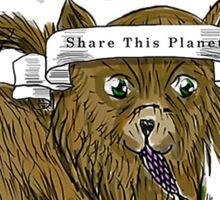 Share the Planet Mascot Puppy. Sticker