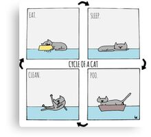 Cycle of a Cat - Eat. Sleep. Poo. Clean. Canvas Print