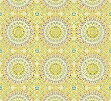 Yellow, Green, Blue & Grey Kaleidoscope Flowers by Mercury McCutcheon