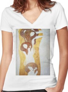 Gustav Klimt - The Beethoven Frieze The Longing For Happiness Finds Repose In Poetry Right Wall Women's Fitted V-Neck T-Shirt