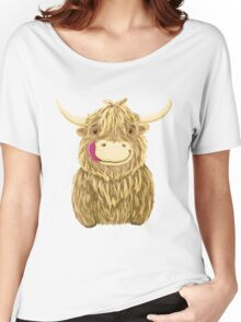 Cartoon Scottish Highland Cow Women's Relaxed Fit T-Shirt