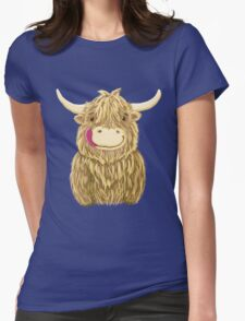 Cartoon Scottish Highland Cow Womens Fitted T-Shirt