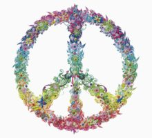 Peace Sign of Flowers by TinaGraphics
