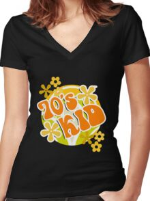 70s Kid - Retro Happy Flowers 1970s Hippies Design Women's Fitted V-Neck T-Shirt