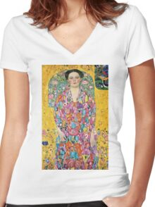 Gustav Klimt - Portrait Of Eugenia Primavesi, 1913  Women's Fitted V-Neck T-Shirt