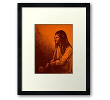 Out for a drink colorful drawing with girl sitting Framed Print