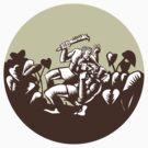 Samoan Losi Club Nifo'oti Weapon Circle Woodcut by patrimonio