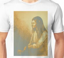 Out for a drink colorful drawing with girl sitting Unisex T-Shirt