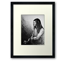 Out for a drink, drawing with girl sitting Framed Print