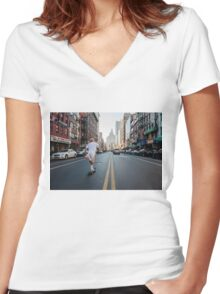 Skate of Mind Women's Fitted V-Neck T-Shirt