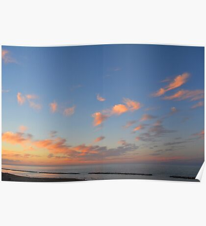 Sunset at the sea in Rimini Poster
