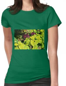 Colorful green leaves pattern Womens Fitted T-Shirt
