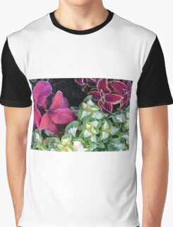 Colorful green and purple leaves pattern Graphic T-Shirt