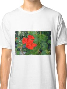 Red flower and green leaves, natural background Classic T-Shirt