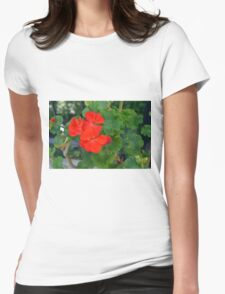 Red flower and green leaves, natural background Womens Fitted T-Shirt